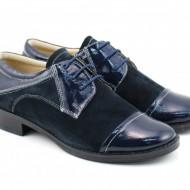 Pantofi dama piele naturala bleumarin cu siret cod P90BL - Made in Romania
