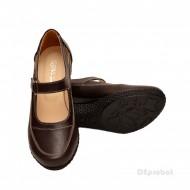 Pantofi dama piele naturala maro cu platforma cod P15M - Made in Romania