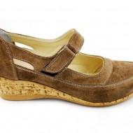 Pantofi dama piele naturala maro velur cu platforma cod P87MVEL - Made in Romania