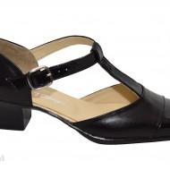 Pantofi dama piele naturala negri cu bareta cod P26