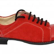Pantofi dama piele naturala rosii cu siret cod P28