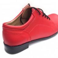 Pantofi dama piele naturala rosii cu siret cod P92R