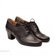 Pantofi negri dama casual-eleganti din piele naturala cod P129