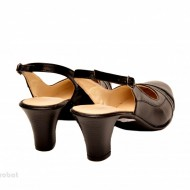 Pantofi negri dama eleganti lucrati manual piele naturala cod P148