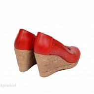Pantofi rosii dama din piele naturala cod P360