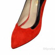 Pantofi stiletto dama eleganti din piele naturala rosii velur cod P302