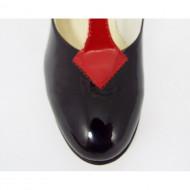 Pantofi stiletto lacuiti dama eleganti din piele naturala cod P316