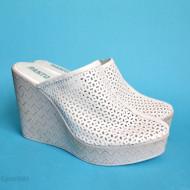 Saboti albi dama din piele naturala cu platforma de 11 cm, LICHIDARE STOC 38