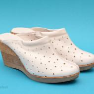 Saboti dama albi din piele naturala cu perforatii cod SB15 - LICHIDARE STOC 40, 41