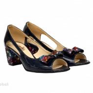 Sandale bleumarin dama din piele naturala lacuita toc 5 cm cod S305