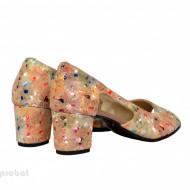 Sandale multicolore dama din piele naturala toc 5 cm cod S301