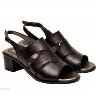 Sandale negre dama din piele naturala toc 5 cm cod S51