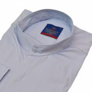 Camasa Slim Fit bleu stil tunica - Camasa bleu barbati fara guler ZR84