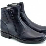Ghete barbati piele naturala Negre casual-elegante cu fermoar cod G32N