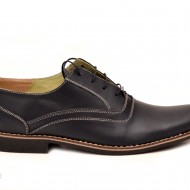 Pantofi barbati piele naturala bleumarin casual-eleganti cu siret cod P120