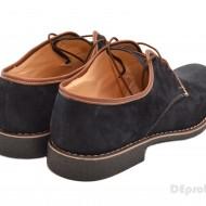 Pantofi barbati piele naturala velur bleumarin casual-eleganti cu siret cod P44