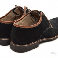 Pantofi barbati piele naturala velur negri casual-eleganti cu siret cod P24