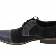 Pantofi bleumarin barbati piele naturala casual-office - cod P85BL