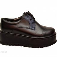 Pantofi dama cu talpa inalta 5,5 cm din piele naturala cod P177