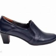 Pantofi dama eleganti bleumarin din piele naturala cu toc 6 cm cod P138