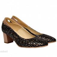 Pantofi dama eleganti cu toc imbracat in piele naturala cod P342