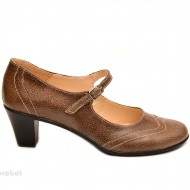 Pantofi dama eleganti din piele naturala maro cu toc de 5 cm cod P106M