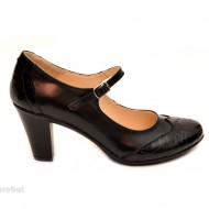 Pantofi dama eleganti din piele naturala negri cu toc de 7 cm cod P105
