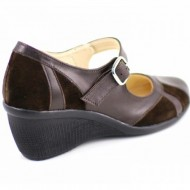 Pantofi dama maro din piele naturala cu platforma cod P40M - Made in Romania