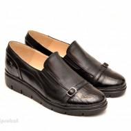 Pantofi dama negri din piele naturala cu elastic cod P101 - LICHIDARE STOC 38