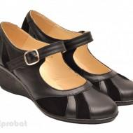Pantofi dama negri din piele naturala cu platforma cod P40N - LICHIDARE STOC 38