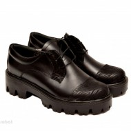 Pantofi dama negri lucrati manual din piele naturala cod P149