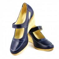Pantofi dama piele naturala bleumarin cu platforma cod P74BL - Made in Romania
