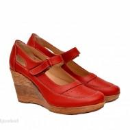 Pantofi dama piele naturala rosii cu platforma cod P74R - Made in Romania
