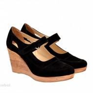 Pantofi dama piele naturala velur negricu platforma cod P74NVEL - Made in Romania