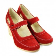 Pantofi dama piele naturala velur rosii cu platforma cod P74RVEL - Made in Romania
