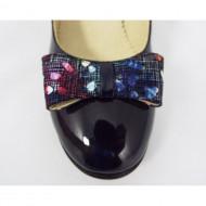 Pantofi eleganti dama bleumarin lacuiti din piele naturala cod P327