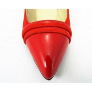 Pantofi stiletto rosii dama eleganti din piele naturala cod P318