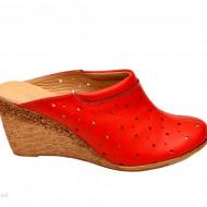 Saboti dama rosii din piele naturala cu perforatii cod SB17 - LICHIDARE STOC 37, 38