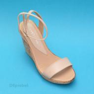 Sandale dama bej cu platforma de 10,5 cm cm din piele naturala cod S53BEJ