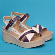 Sandale dama mov cu alb cu platforma de 7 cm cm din piele naturala cod S58