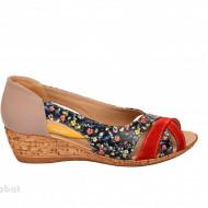 Sandale dama multicolore cu platforma din piele naturala cod S60