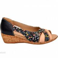 Sandale dama multicolore cu platforma din piele naturala cod S62