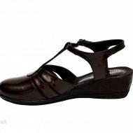 Sandale dama negre lacuite din piele naturala cod S56N