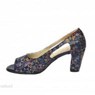 Sandale multicolore dama din piele naturala toc 7,5 cm cod S308