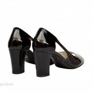 Sandale negre dama din piele naturala lacuita toc 7,5 cm cod S307