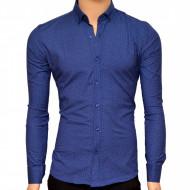 Camasa Slim Fit barbati albastra cu picatele albe - Camasa barbati (bumbac) ZR82