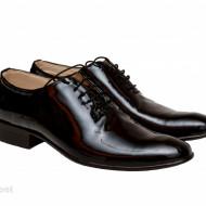 Pantofi barbatesti negri lacuiti din piele naturala casual-eleganti cod P65NL - Editie de LUX