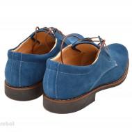 Pantofi barbati piele naturala velur Albastri casual-office - cod P66