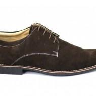 Pantofi barbati piele naturala velur maro casual-eleganti cu siret cod P25M