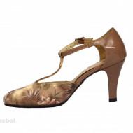 Pantofi dama bej cu toc aplicat din piele naturala cod P348